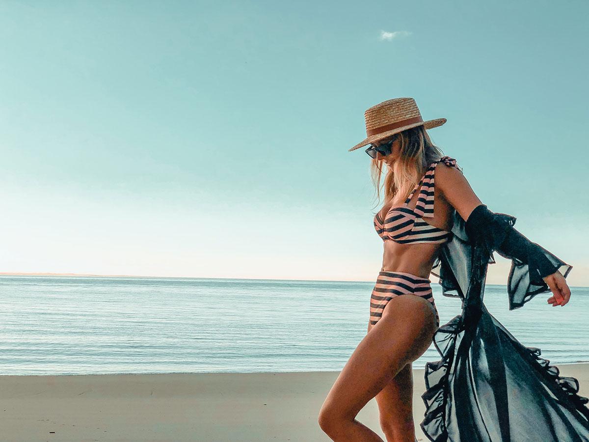 blue and white striped waisted bikini