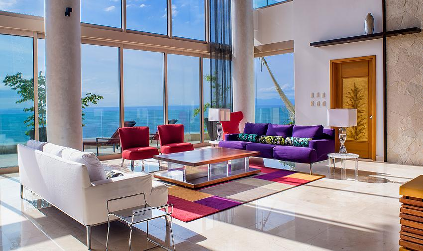 Living room oceanview grand penthouse garza blanca puerto vallarta