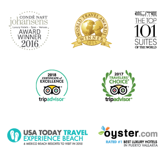 Conde Nast Johanesens 2013, RCI Gold Crown, Expedia Insiders 2014, Travelers Choice 2014, Ellite Wedding Collection